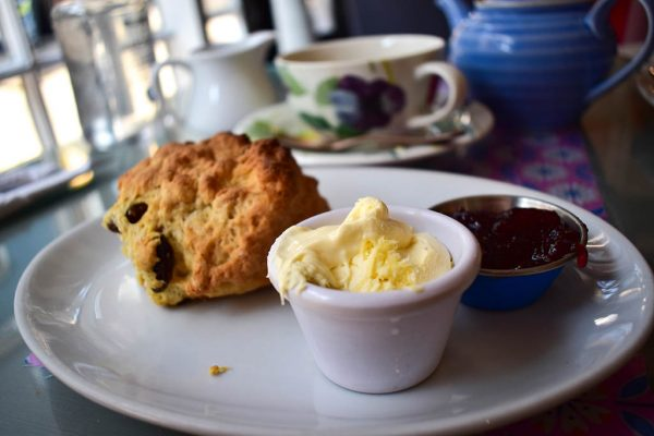 Scone with jam and clotted cream at Bells tea shop