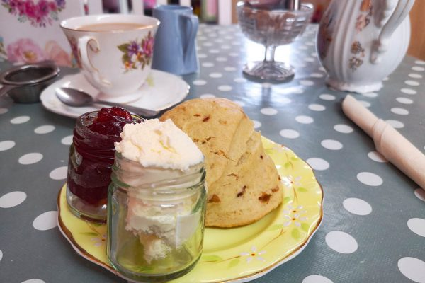 Scone with jam and clotted cream at Peony Tea Parlour