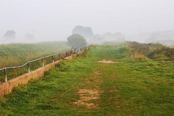 Catchwater Drain in mist