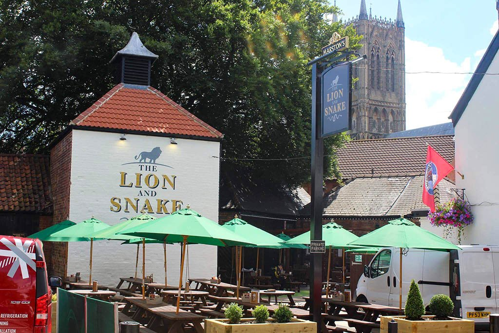 Lion & Snake Cathedral view
