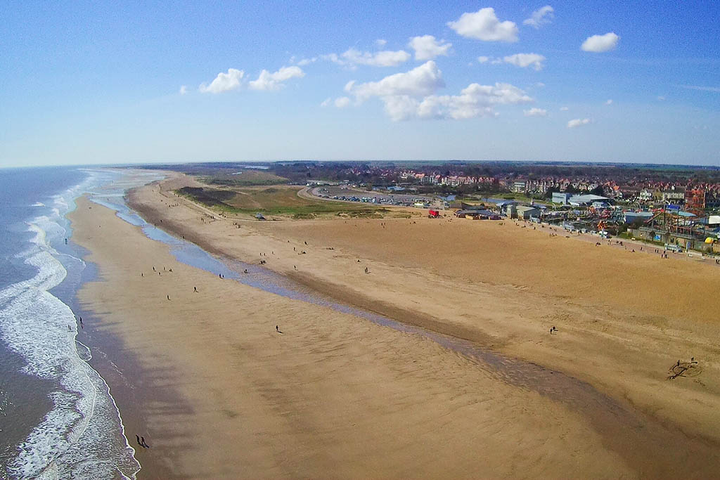 Skegness beaches in Lincolnshire aerial view