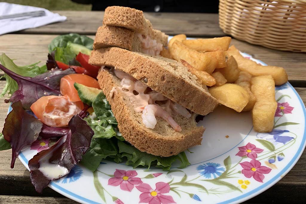 Prawn sandwich and chips