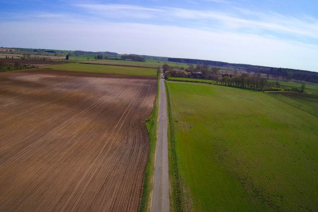 Lincolnshire Wolds road near Tealby aerial