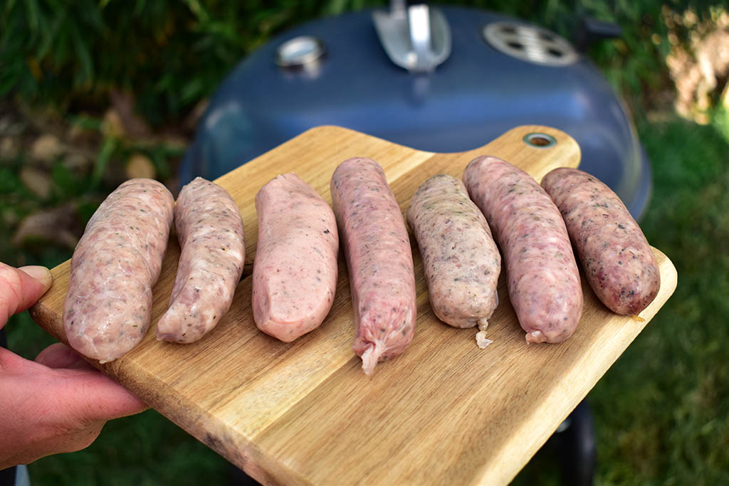 Lincolnshire sausage before cooking