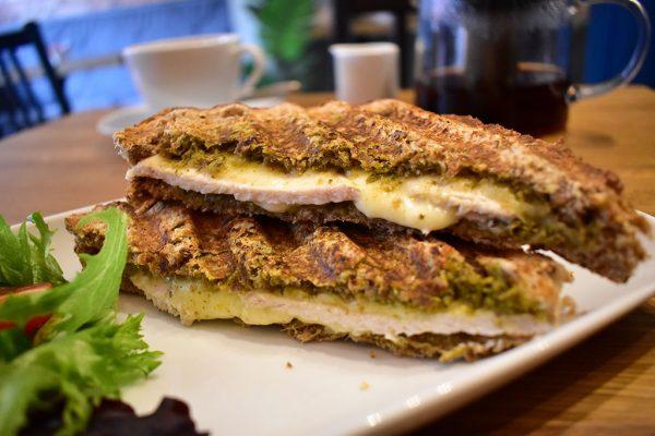 T Lounge Lincoln chicken pesto mozzarella sandwich