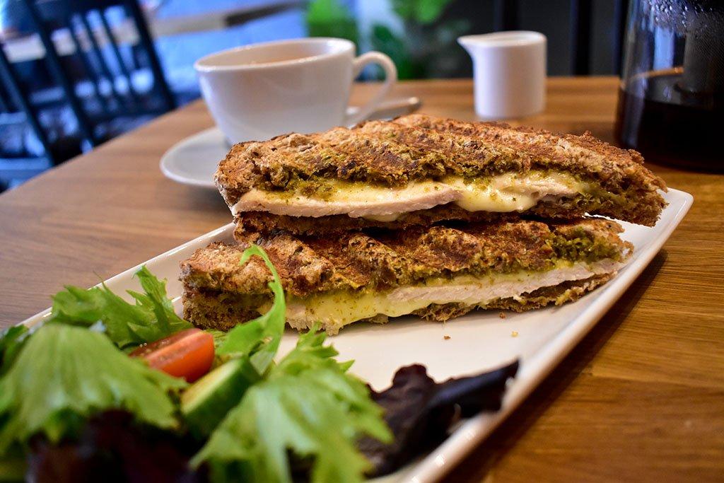 Chicken pesto mozzarella sandwich