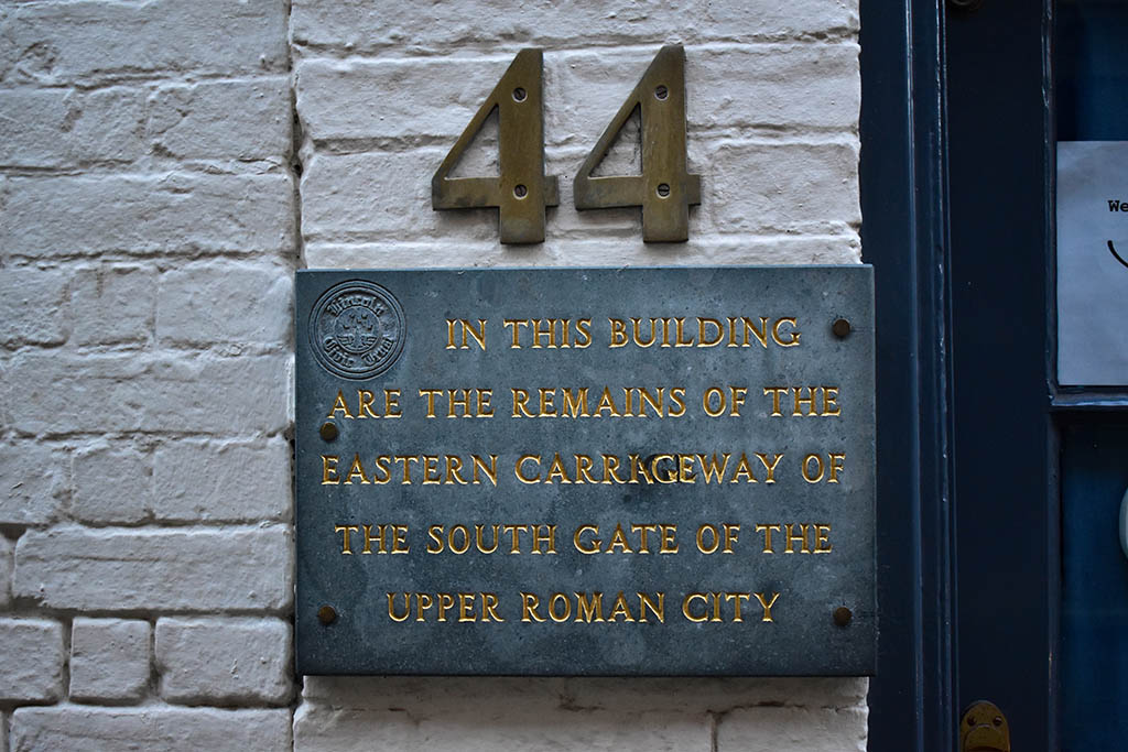 Steep Hill Lincoln Roman South Gate remains sign